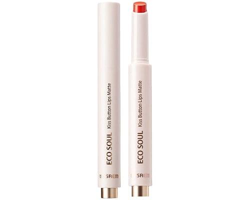 The Saem Eco Soul Kiss Button Lips Matte, Lipstik Korea Tahan Lama